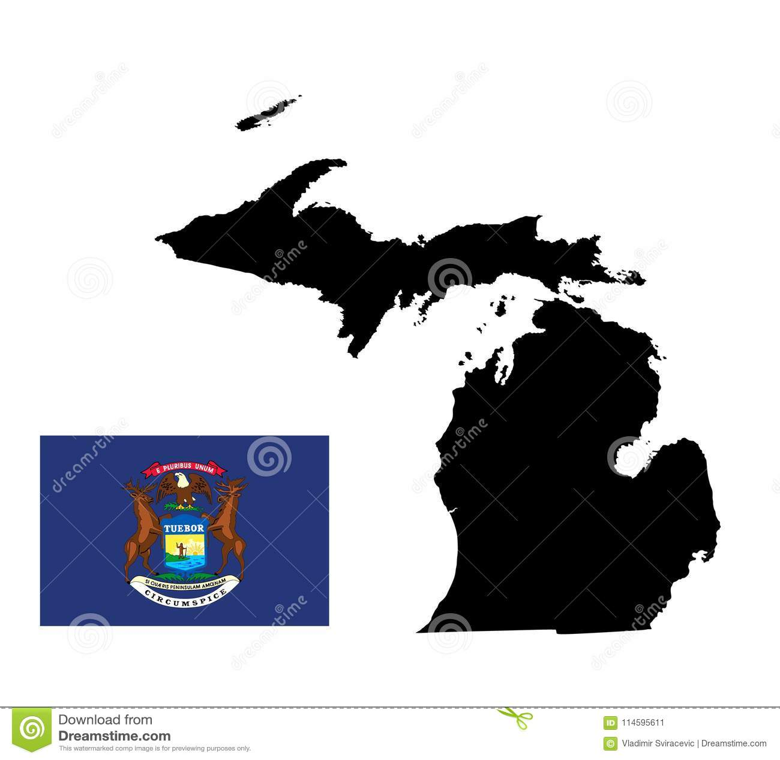 Silueta Del Mapa De Michigan Bandera Del Estado De Michigan Stock de ...