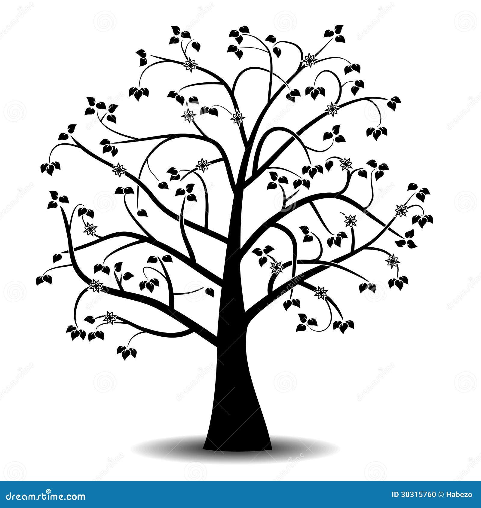 Silueta Negra Del árbol Aislada En El Fondo Blanco Stock De