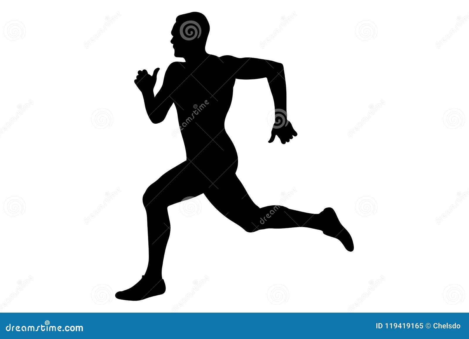 silueta del negro del esprinter del corredor del hombre