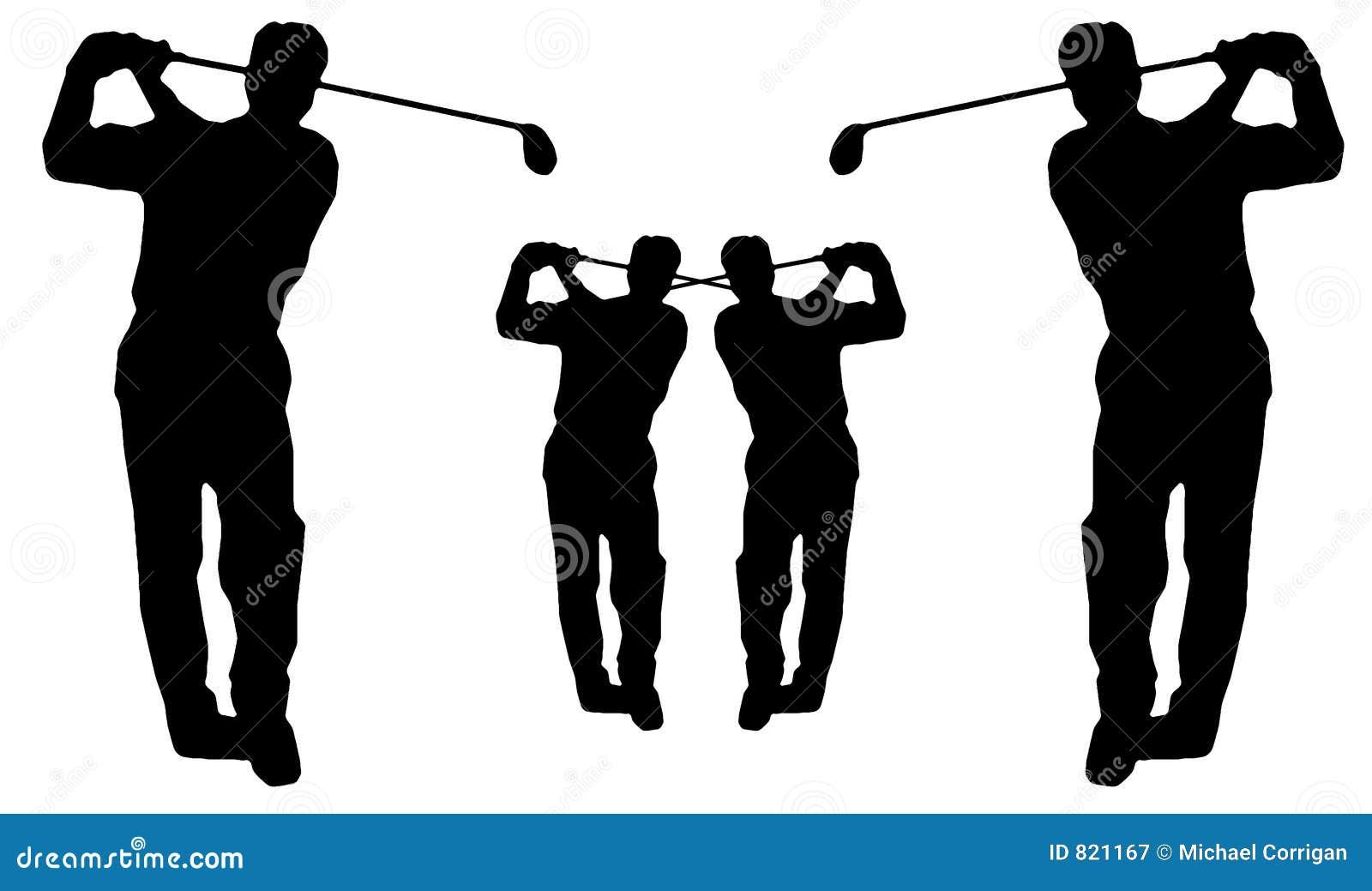 Silueta del oscilación del golf