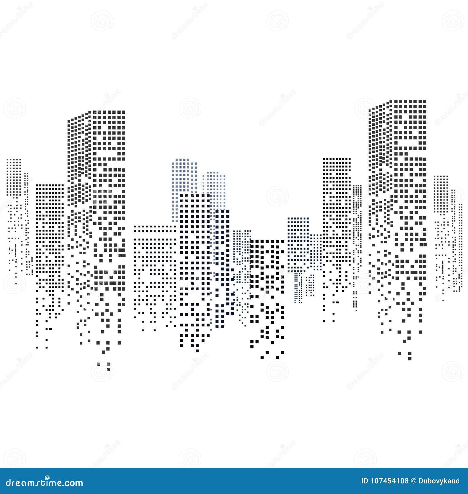 Silueta del paisaje urbano aislada en el fondo blanco en diseño plano Ilustración del vector