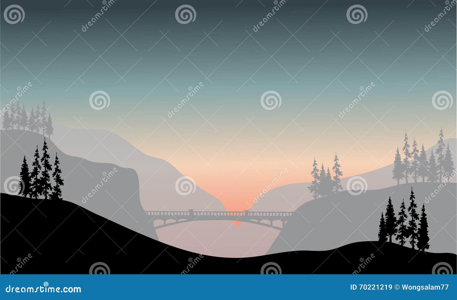 Silueta del puente en la mañana