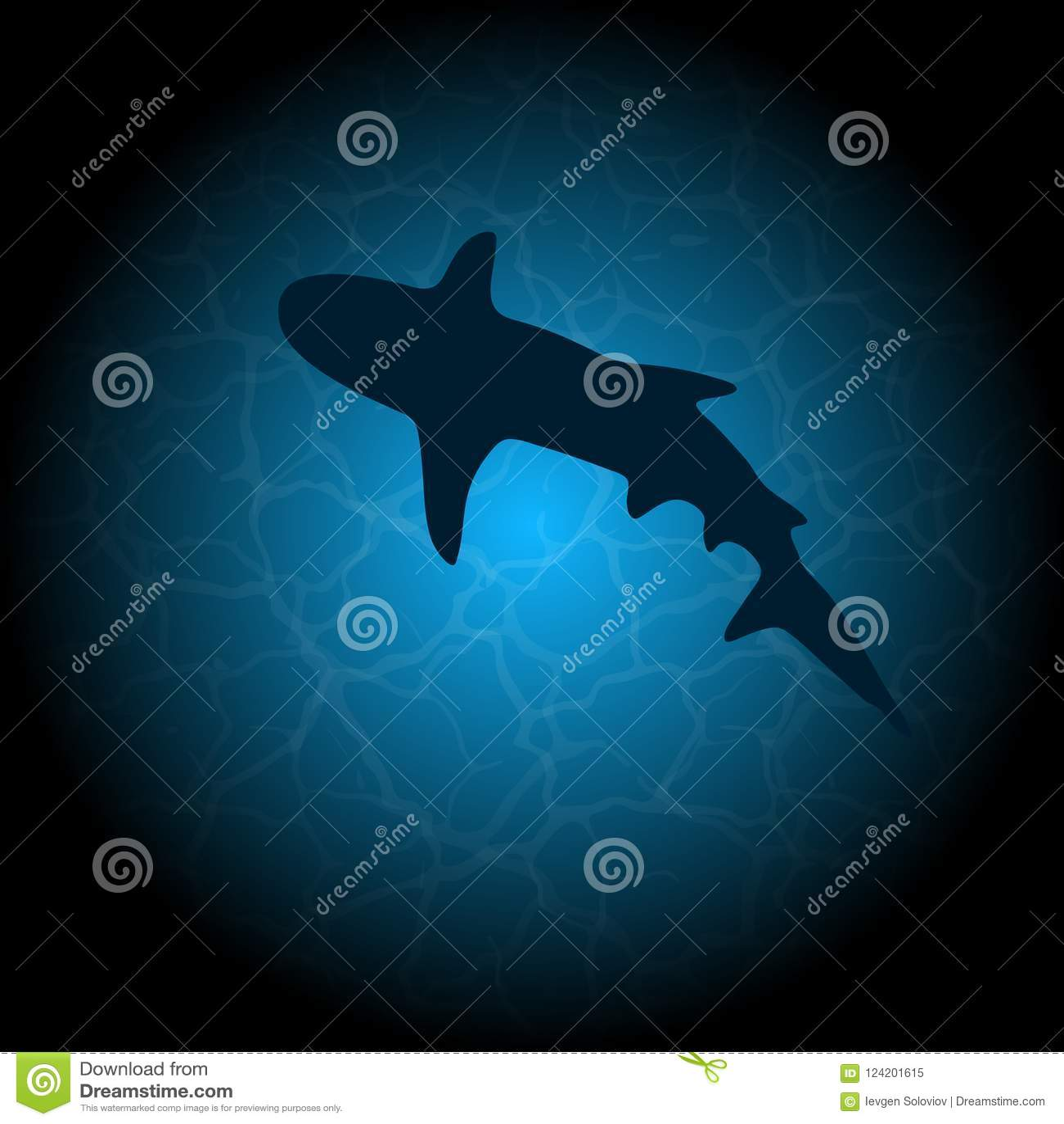 Silueta del tiburón del agua azul