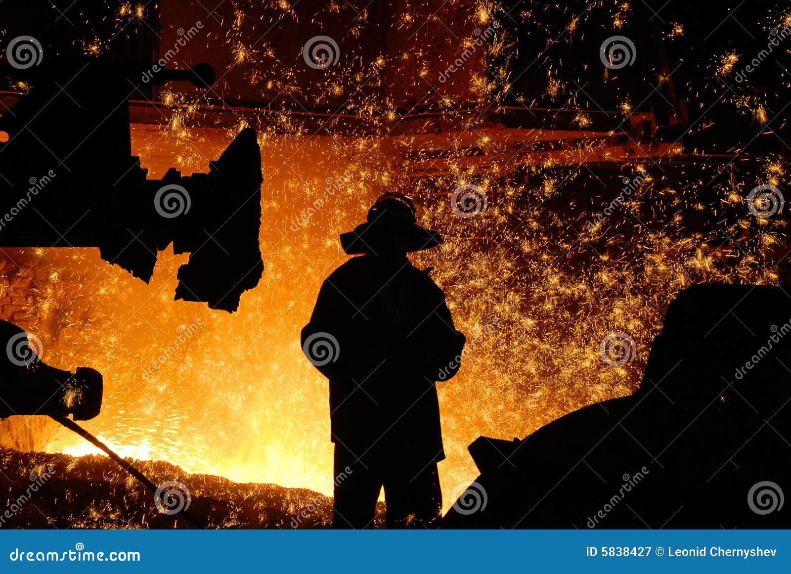 Silueta del trabajador siderúrgico