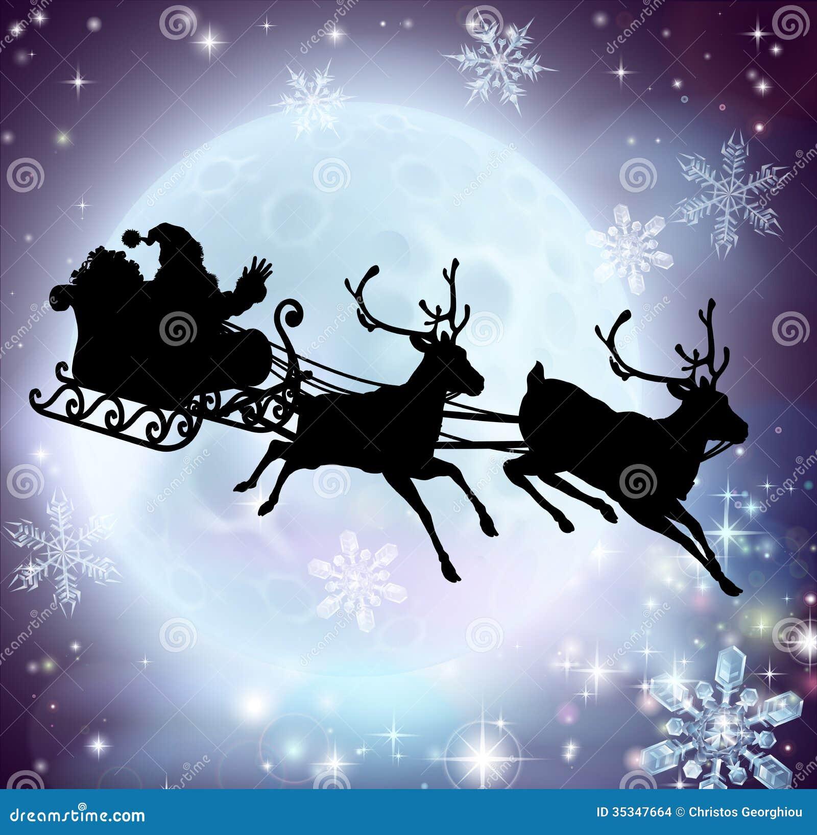 Silueta del trineo de la luna de Papá Noel
