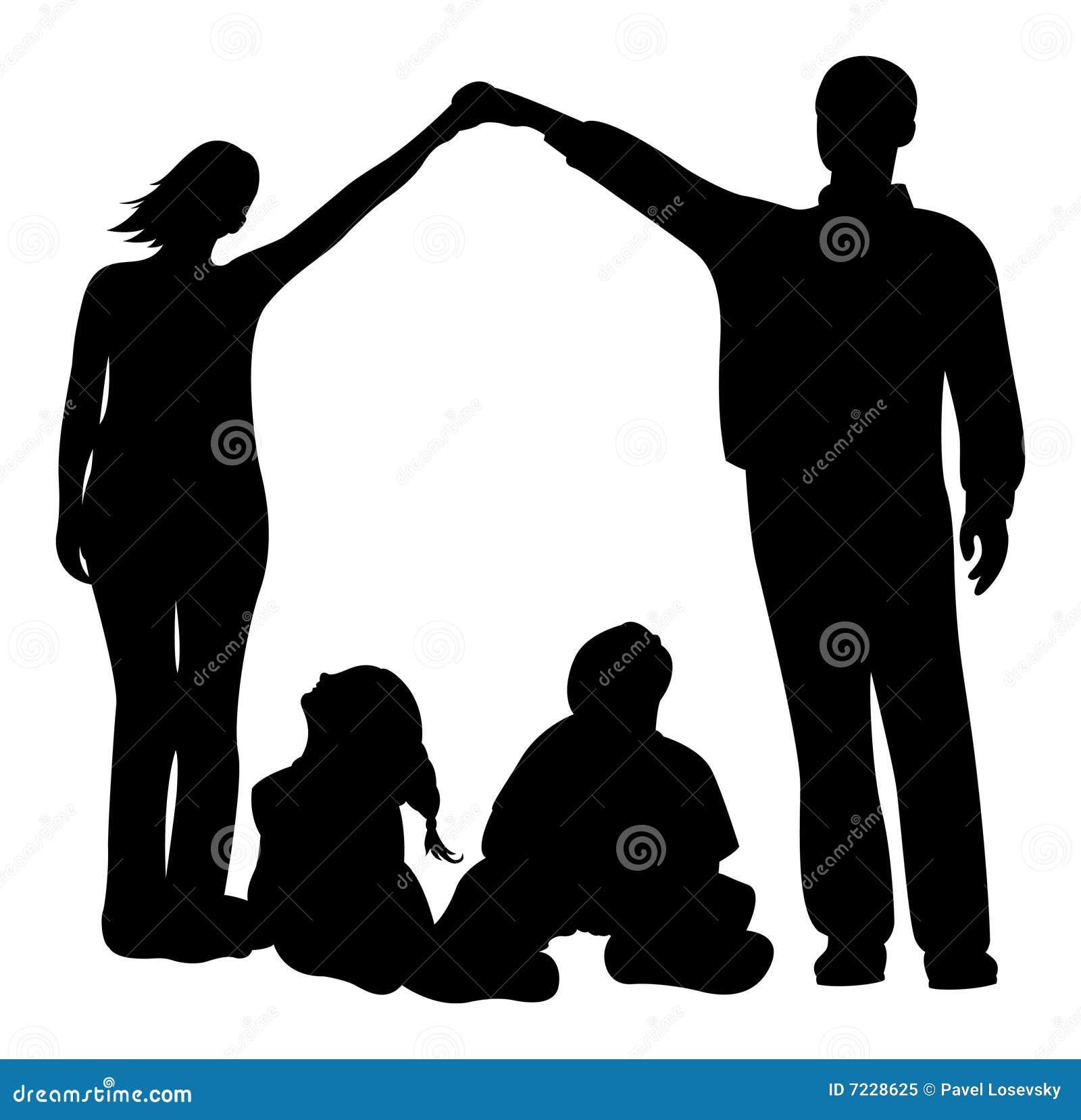 Silueta del vector de la casa de la familia