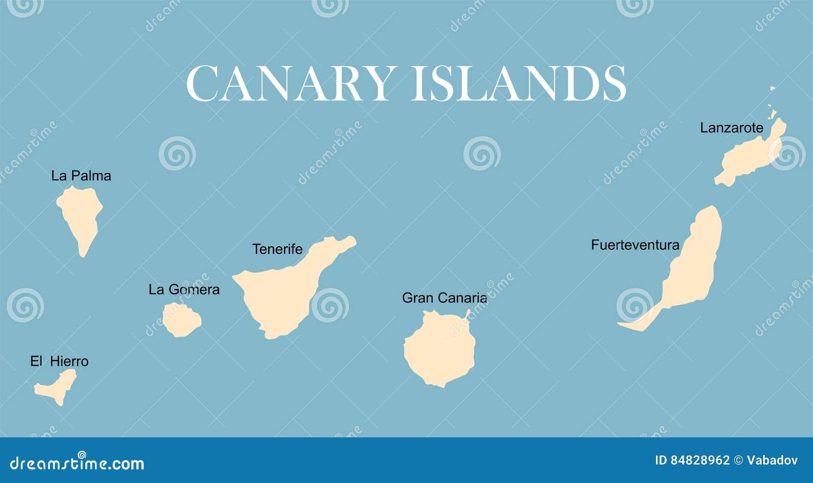 Silueta Del Vector Del Mapa De Las Islas Canarias Ilustracion Del