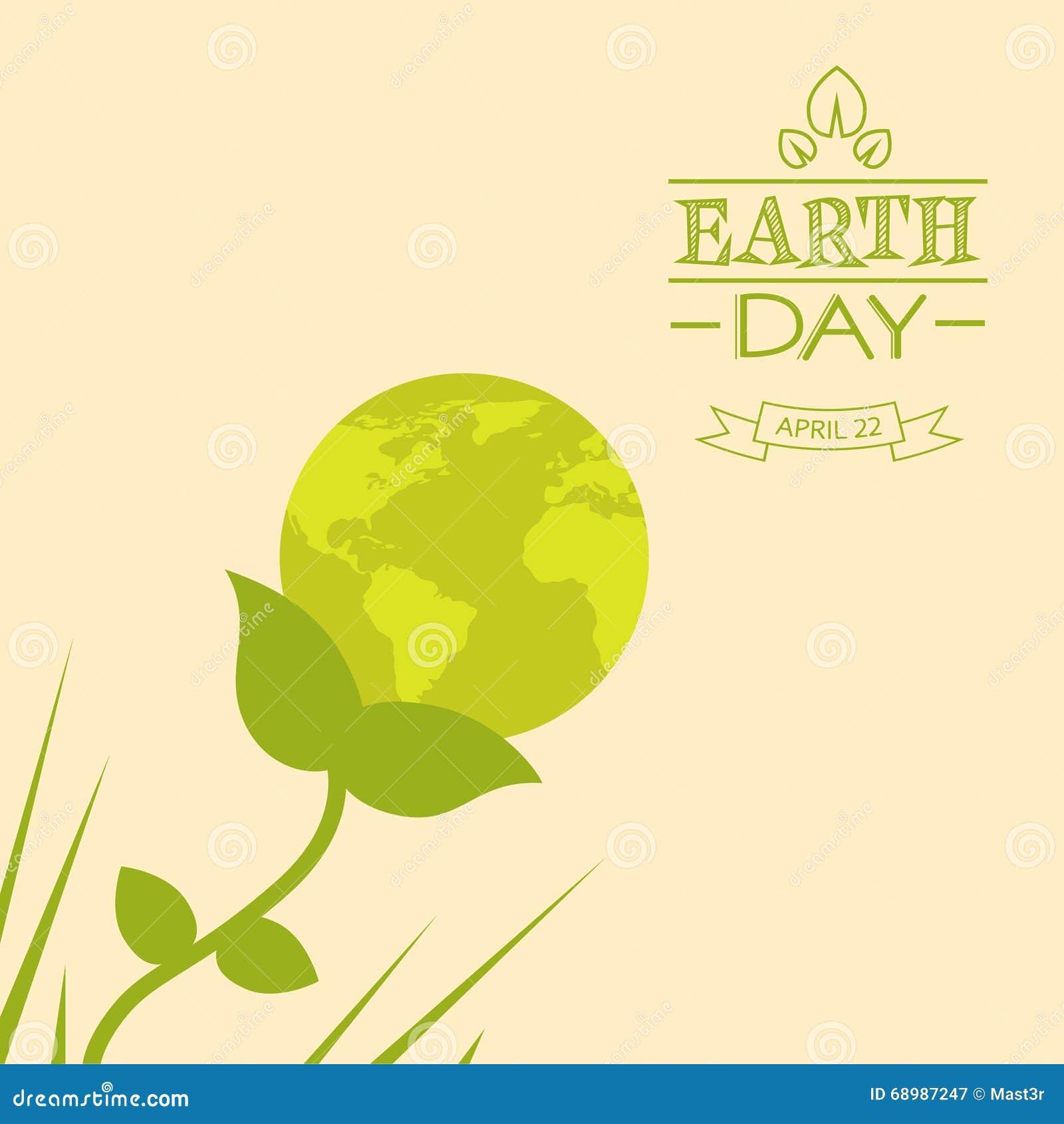 Silueta del verde de la flor de globo del mundo del Día de la Tierra