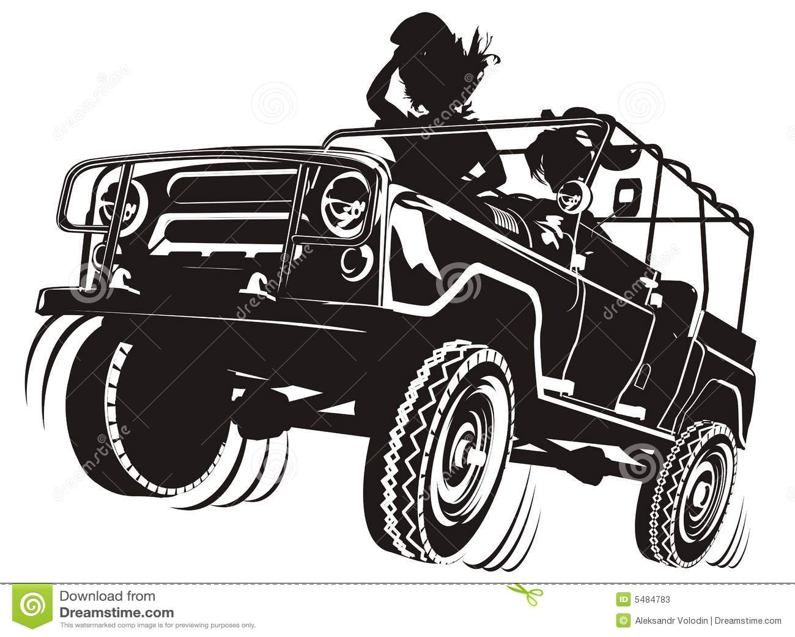 Silueta detallada del jeep del vector