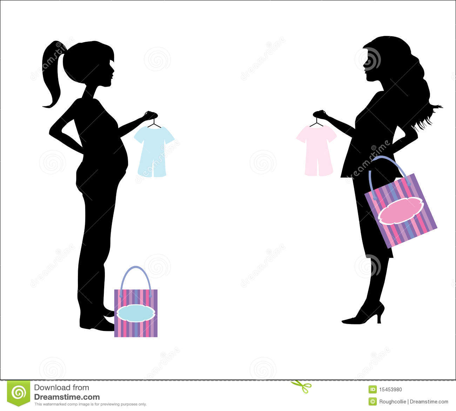Dos madres jovenes embarazadas a hacer compras para el beb  arropan