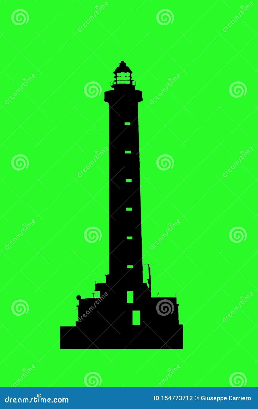 Silueta en la pantalla verde del faro para los marineros excelentes como logotipo
