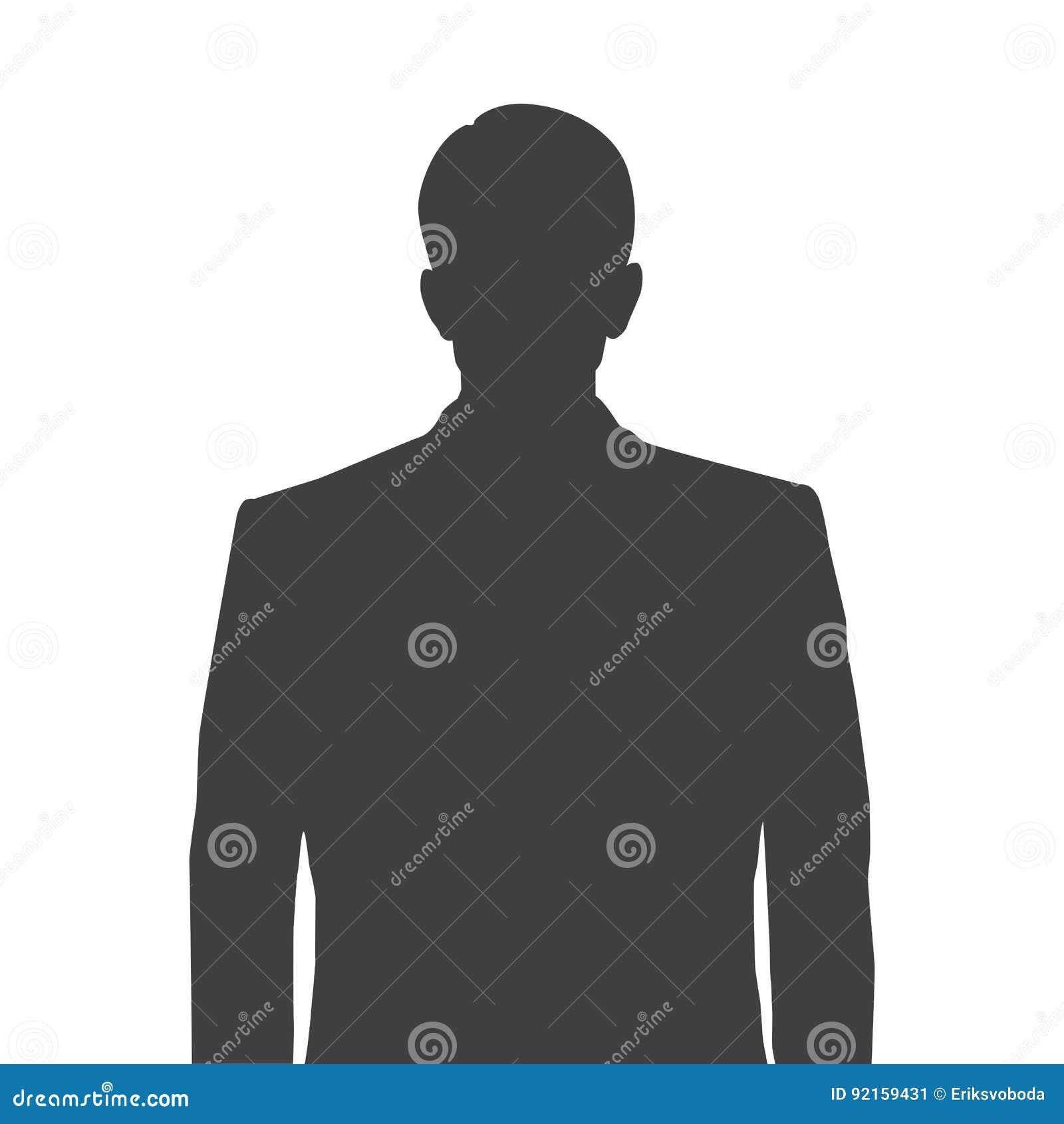 Silueta exacta de un hombre para la imagen del perfil Silueta gris de un hombre cintura-profundo con un peinado aseado en blanco