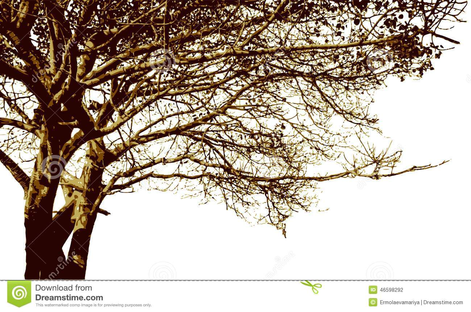 Silueta grande del rbol y de las ramas vector detallado - Ramas de arboles ...