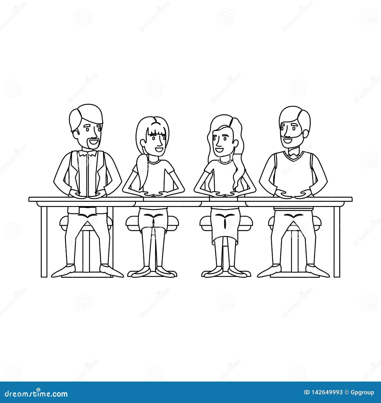 Silueta monocromática del trabajo en equipo de las mujeres y de los hombres que se sientan en escritorio