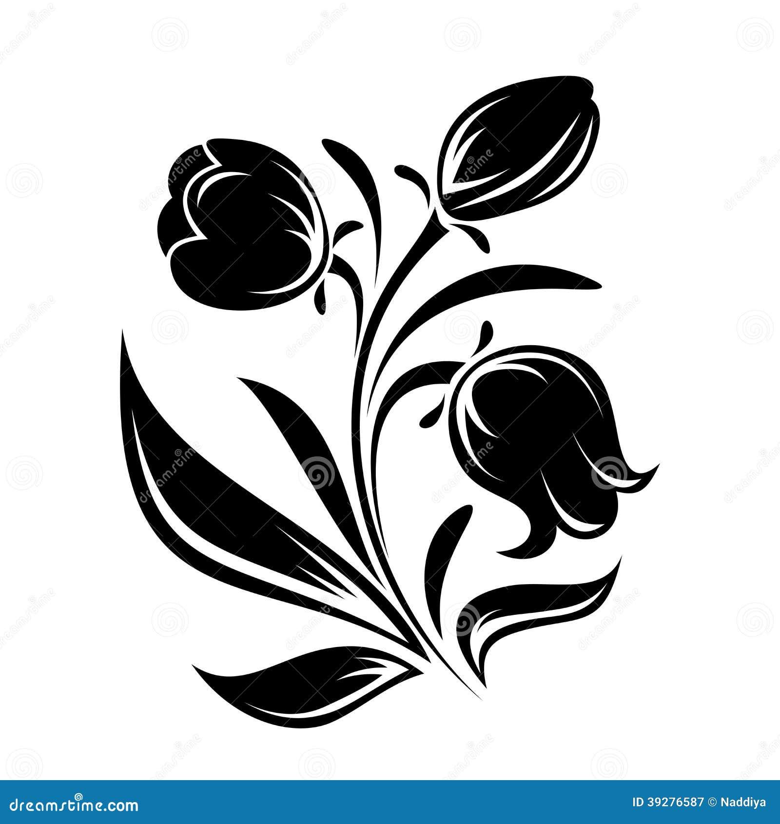 Silueta Negra De Flores Ejemplo Del Vector Ilustraci 243 N Del Vector Imagen 39276587