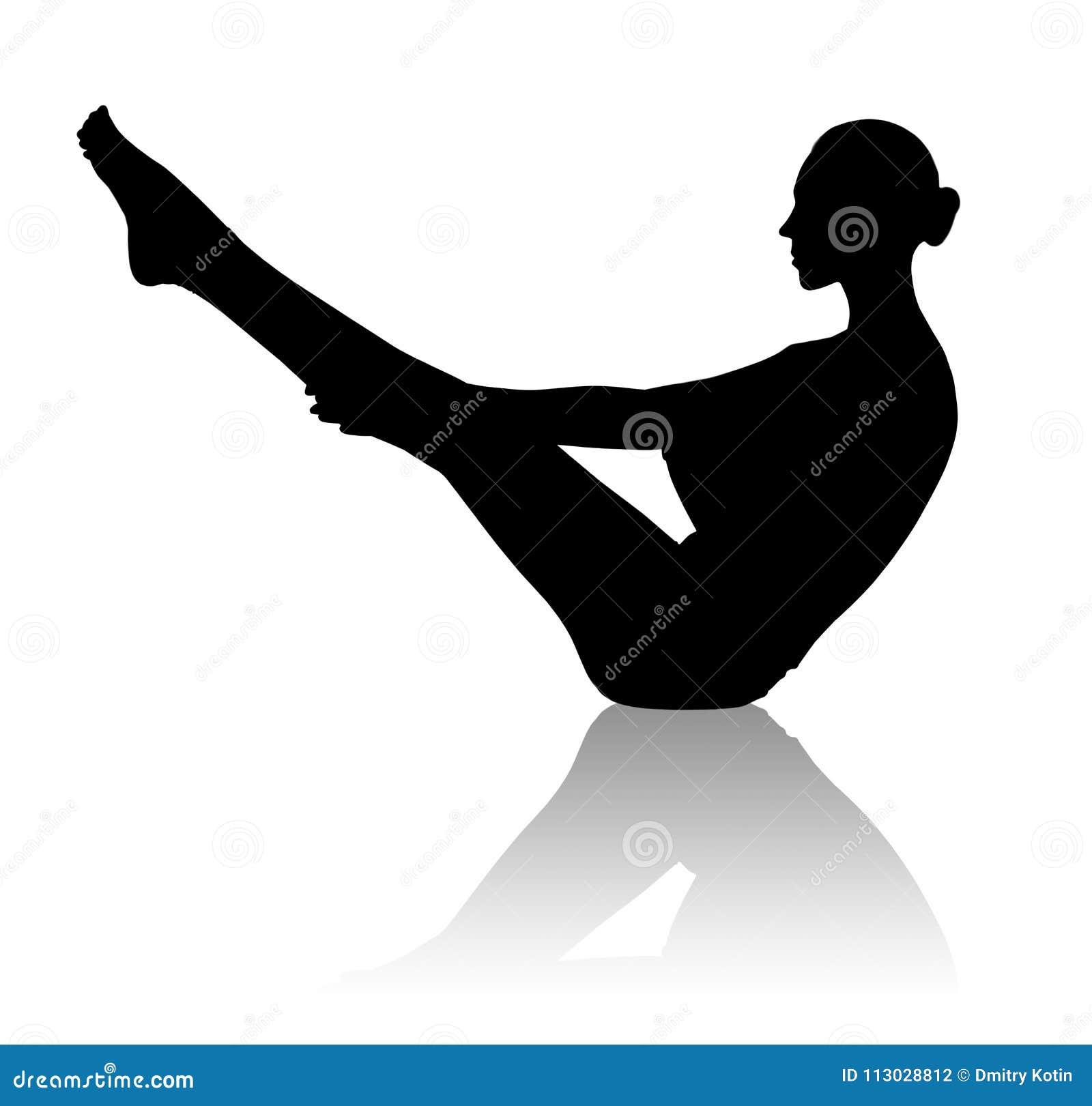 Silueta negra de la mujer flexible que hace yoga
