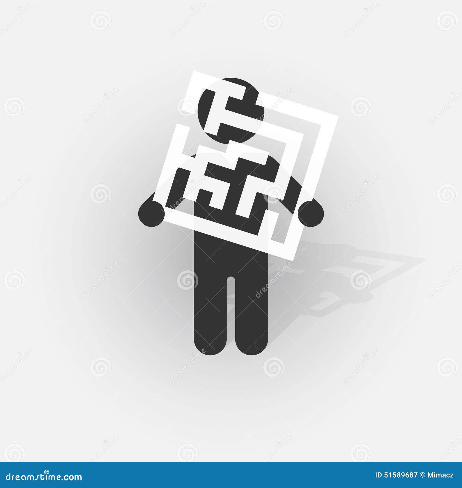 Silueta negra de un hombre con una muestra con un pequeño laberinto