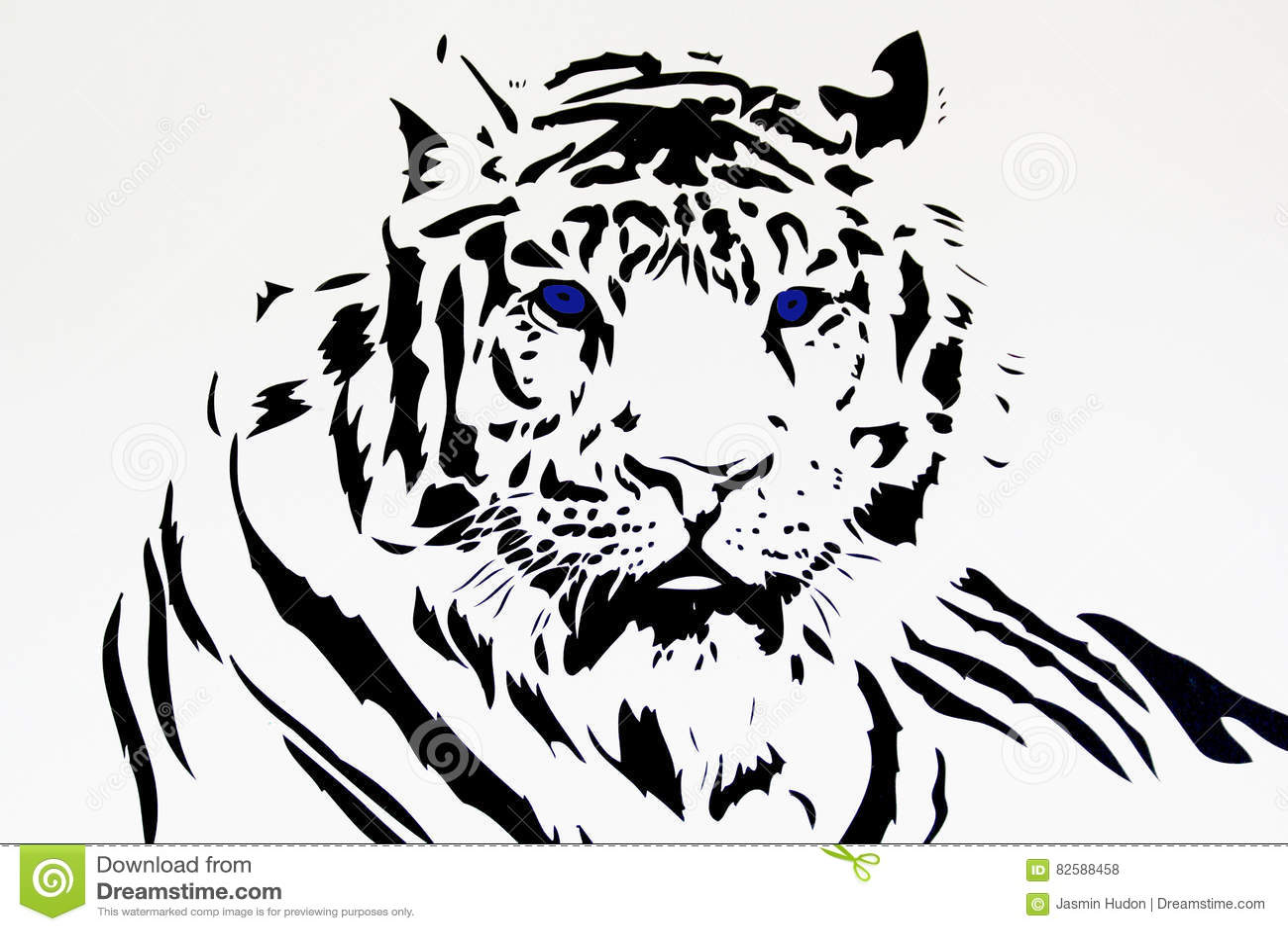 Silueta Negra Tribal Del Tigre Blanco Stock De