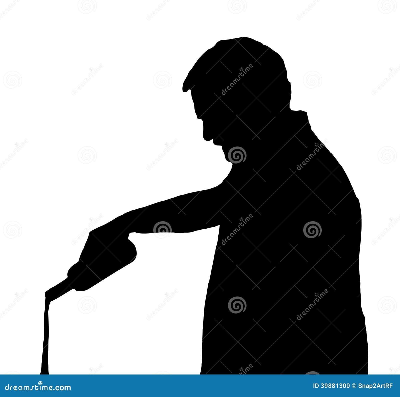 Silueta Stubby European Pouring Drink Out del hombre de la botella