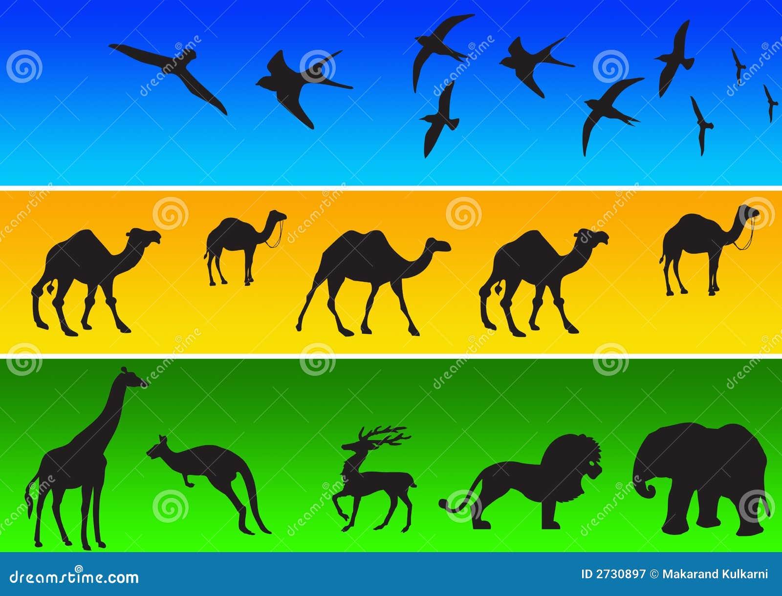 Siluetas animales en color stock de ilustración. Ilustración de ...