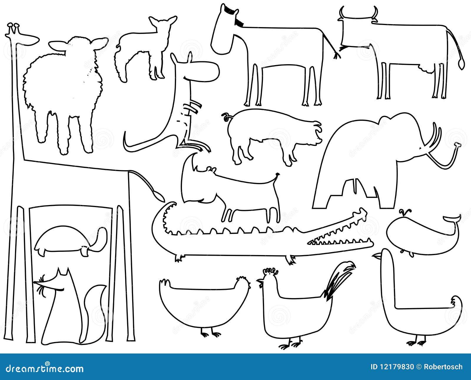 Siluetas Blancos Y Negros Animales En Blanco Ilustración