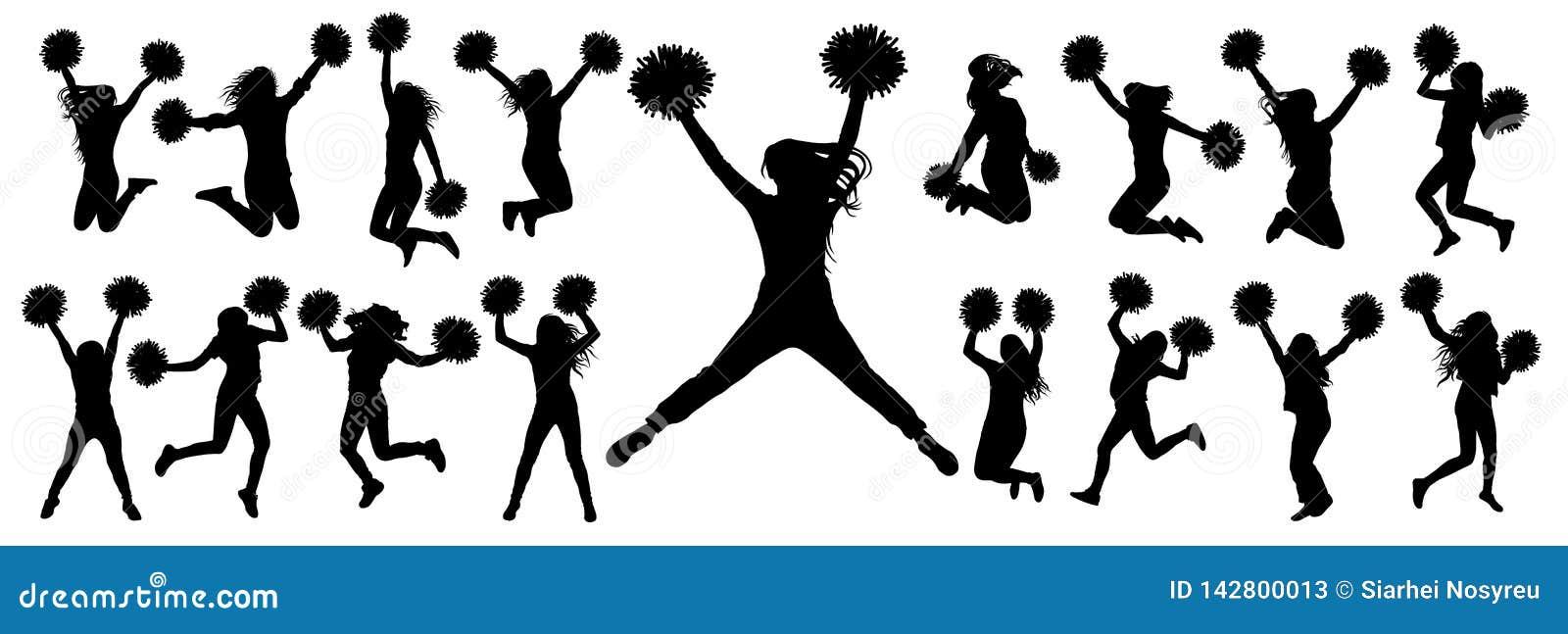 Siluetas de animar a los bailarines que saltan y que se colocan con los pompoms, sistema aislado de iconos Ilustración del vector