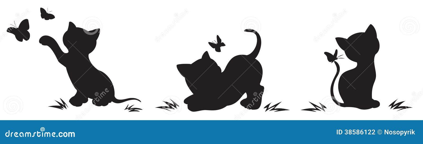 Siluetas De Gatos Con Las Mariposas Ilustración Del Vector