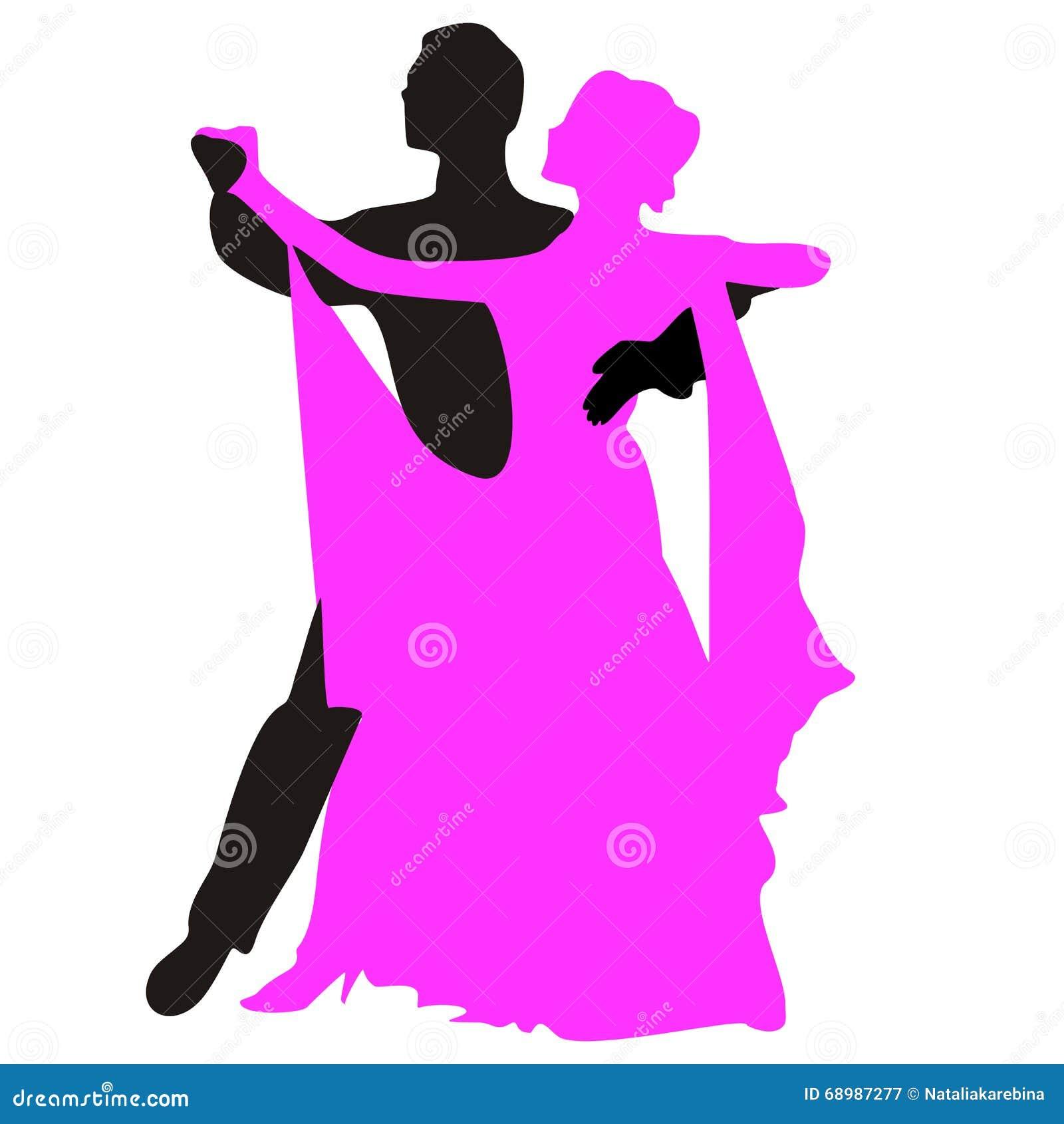 Siluetas de la gente que baila el vals