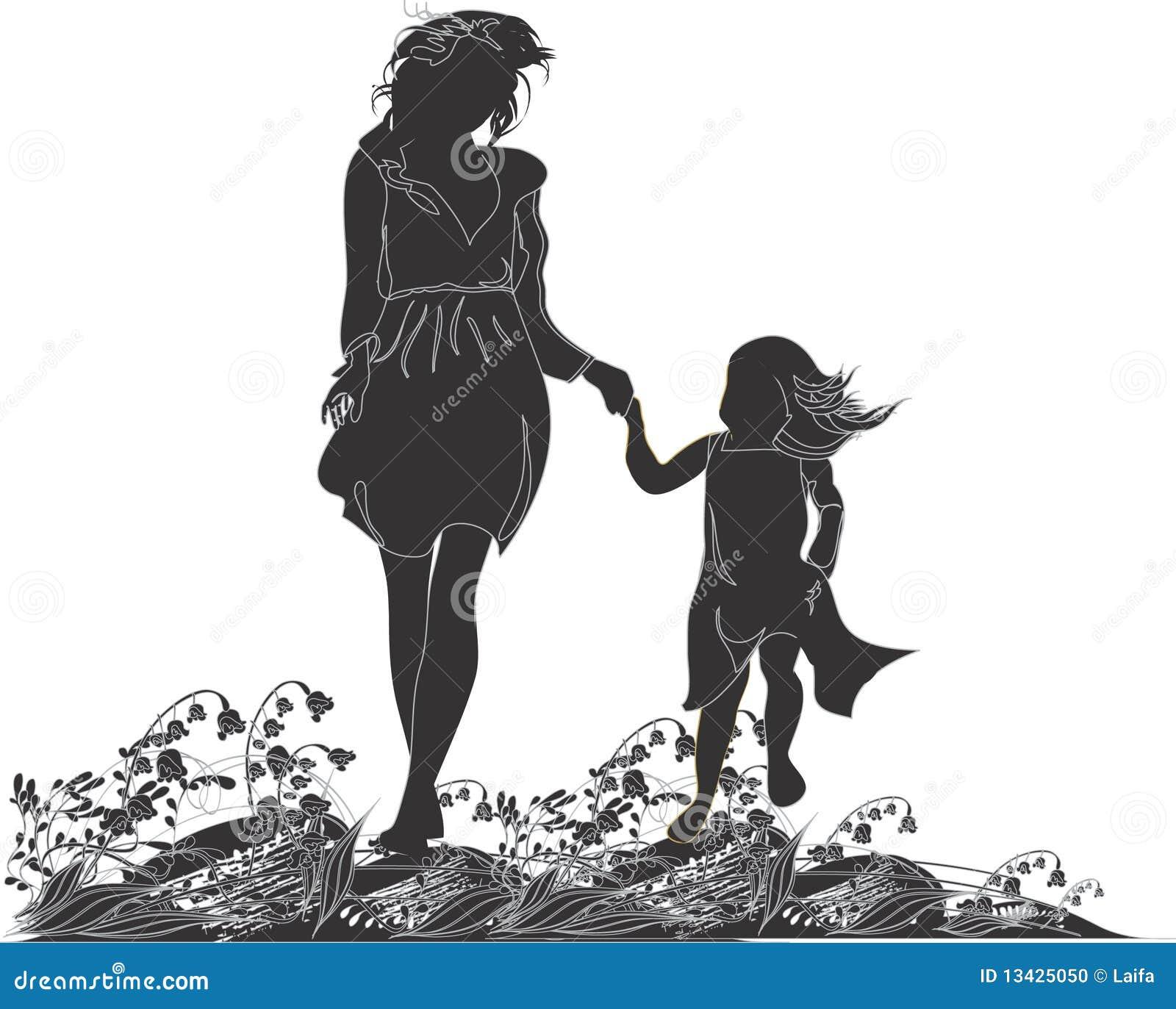 Siluetas De La Madre Y De Su Hija Stock De Ilustración Ilustración