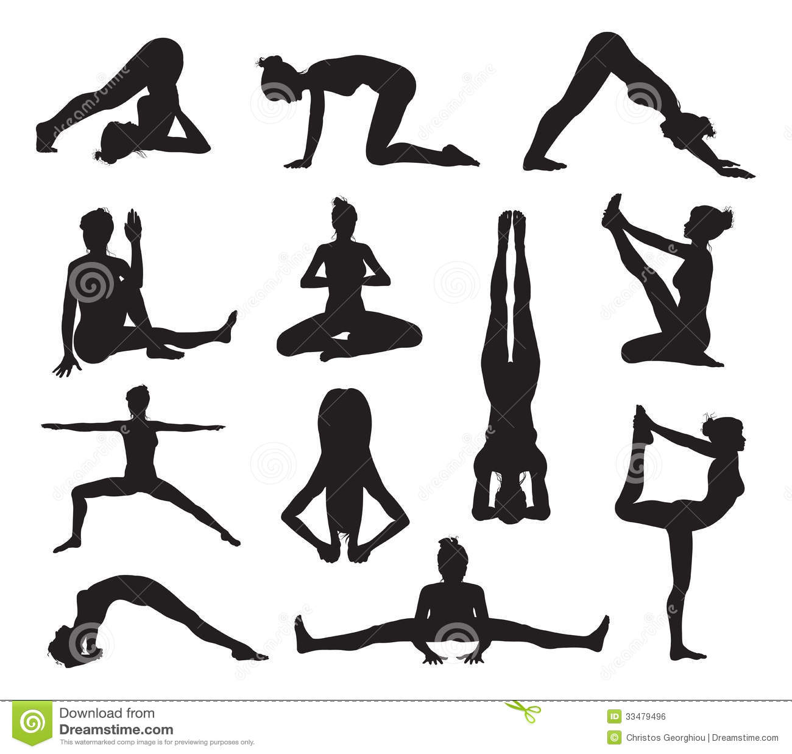 Siluetas de las actitudes de la yoga o de los pilates