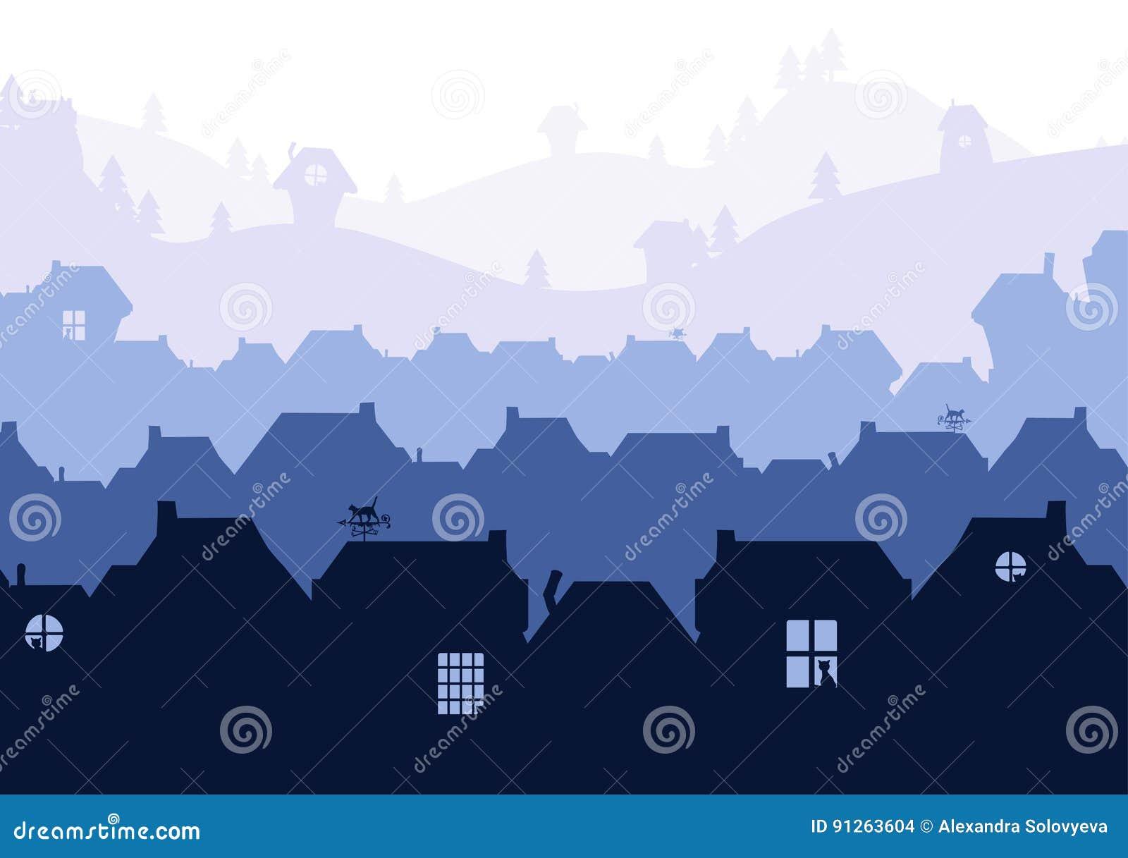 Siluetas de las casas en fondo de descoloramiento del paisaje con las siluetas del gato en aberturas de la ventana