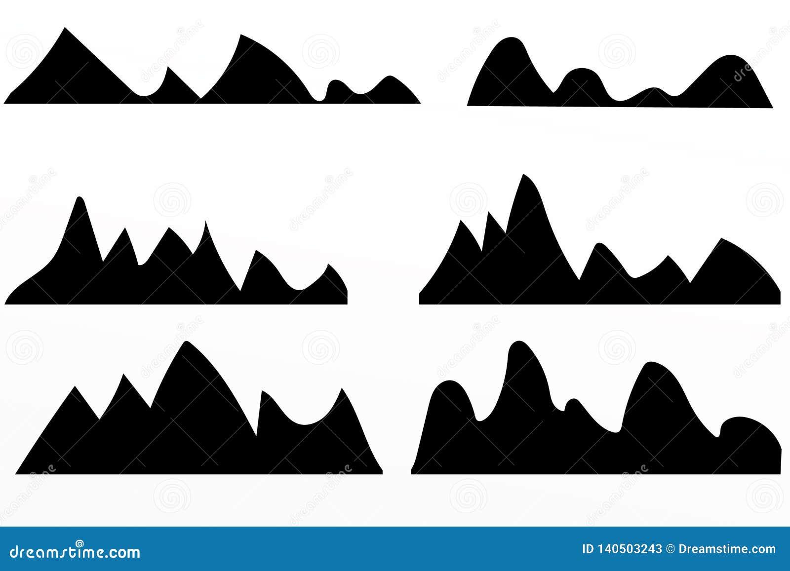 Siluetas de las montañas en el fondo blanco