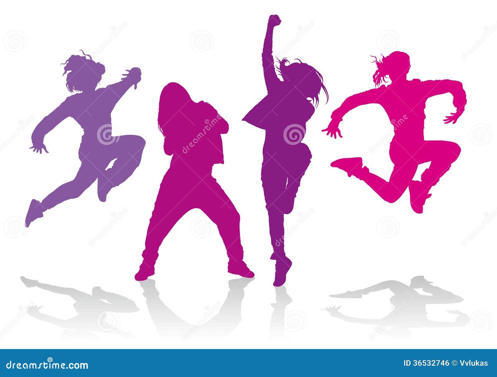 Siluetas de las muchachas que bailan danza del hip-hop