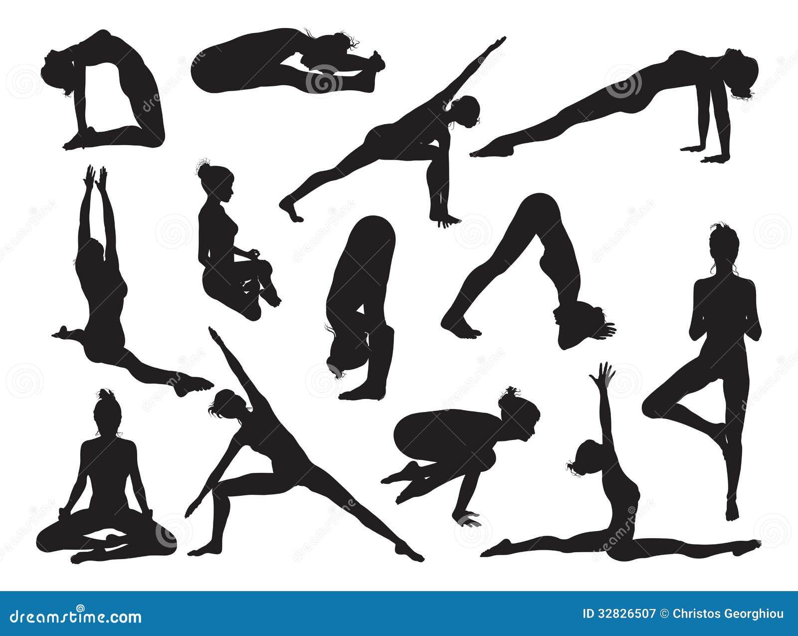 Siluetas de las mujeres de la actitud de la yoga
