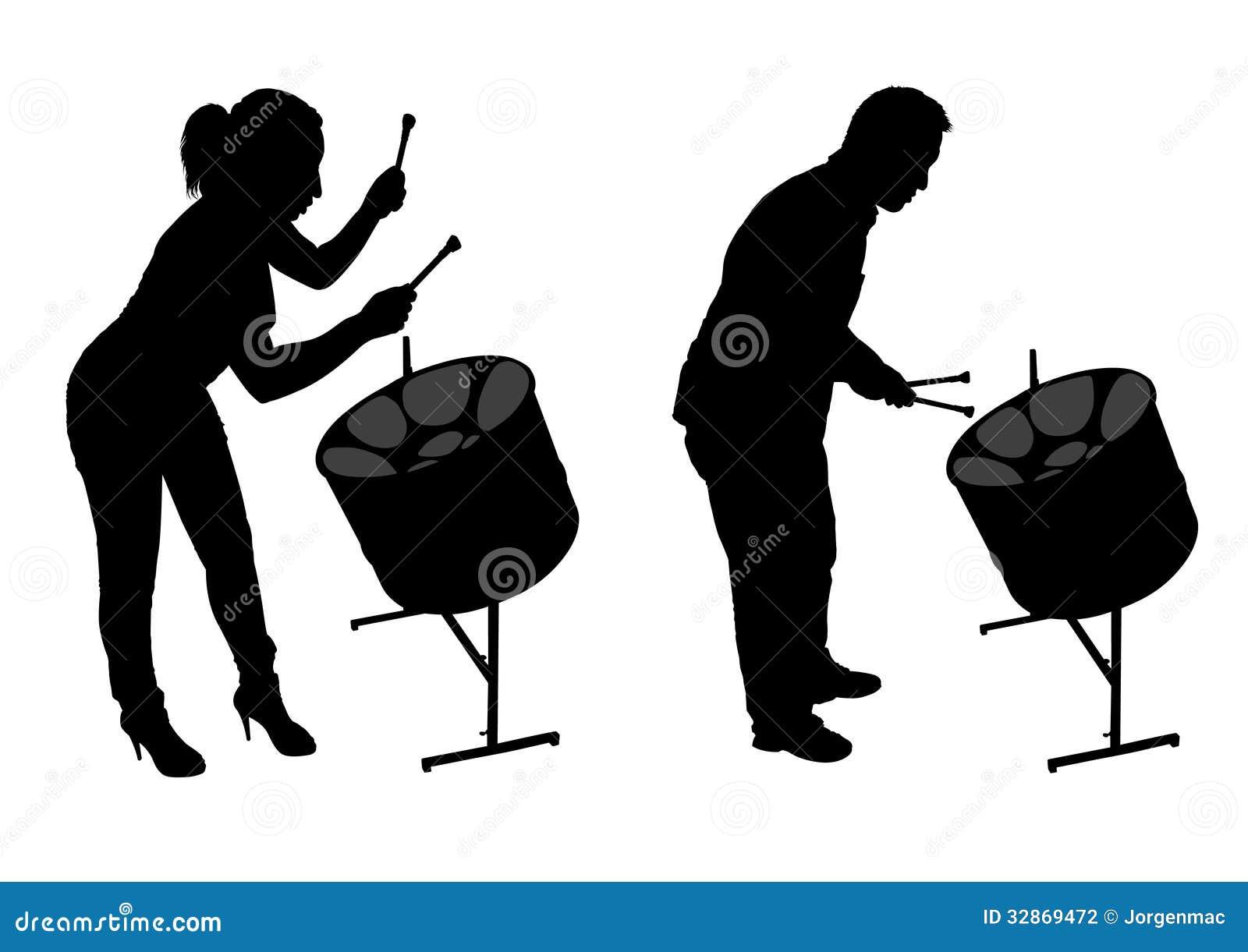 Siluetas de los jugadores del tambor de acero