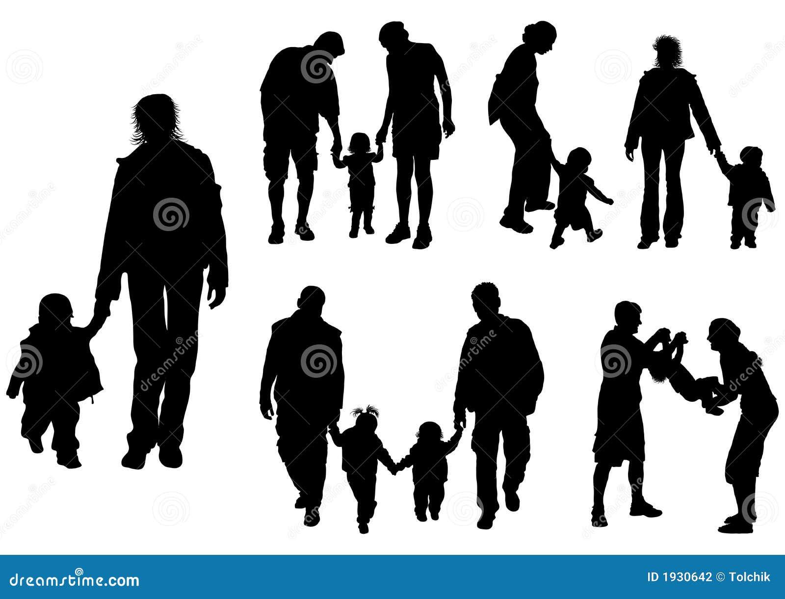 Siluetas De Los Padres Con El Bebé, Vector Fotografía De