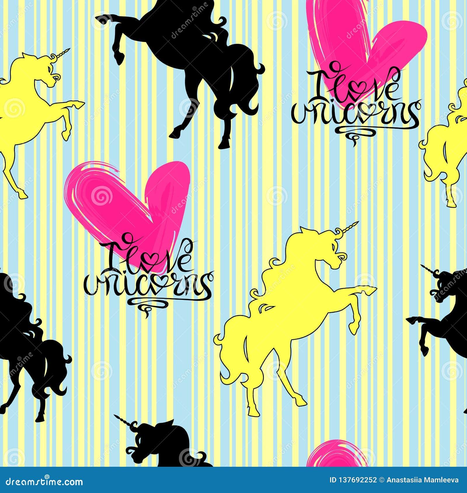Siluetas de los unicornios amarillos y negros con poner letras en un modelo inconsútil del fondo rayado