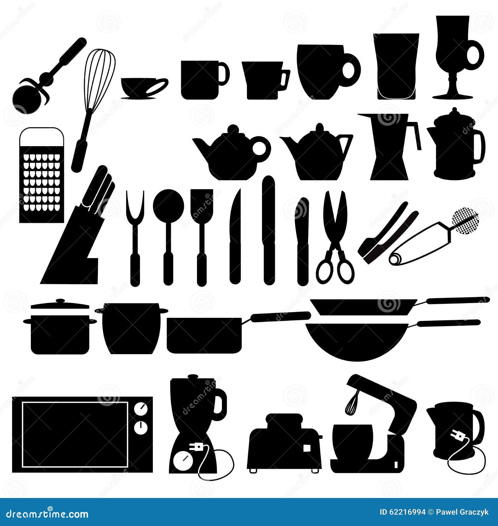 Siluetas de los utensilios de la cocina ilustraci n del for Utensilios de cocina mickey
