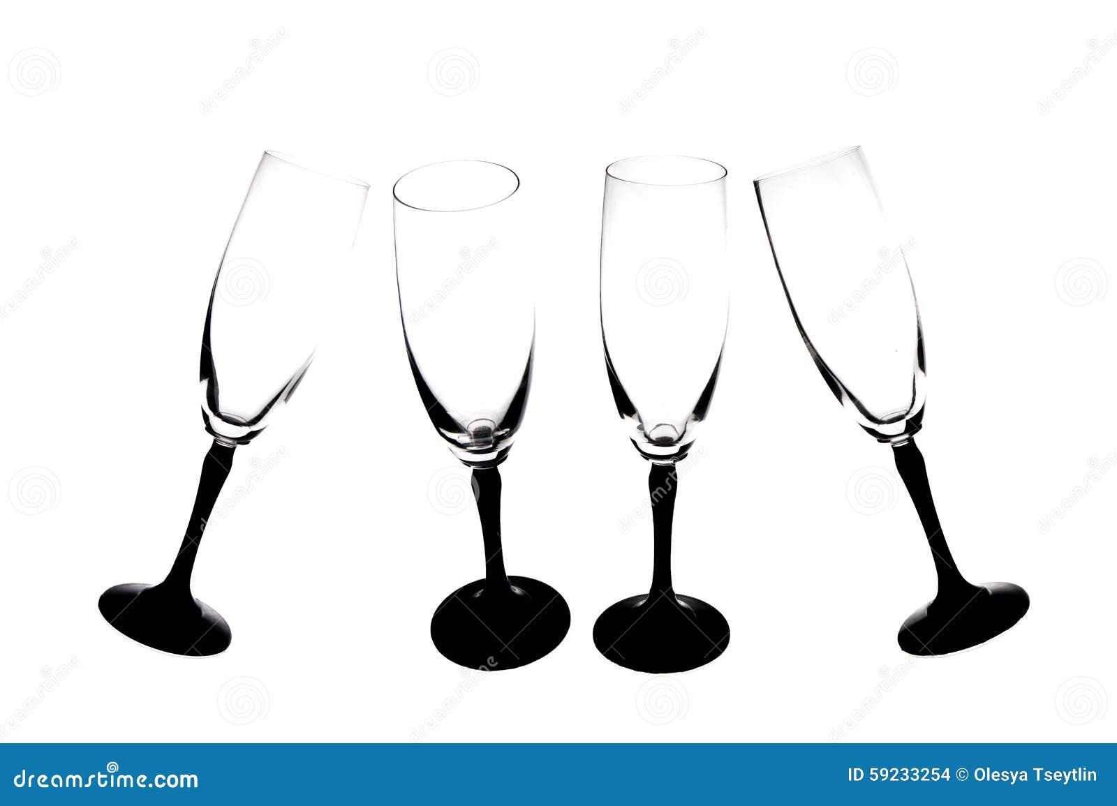 Siluetas de los vidrios del champán