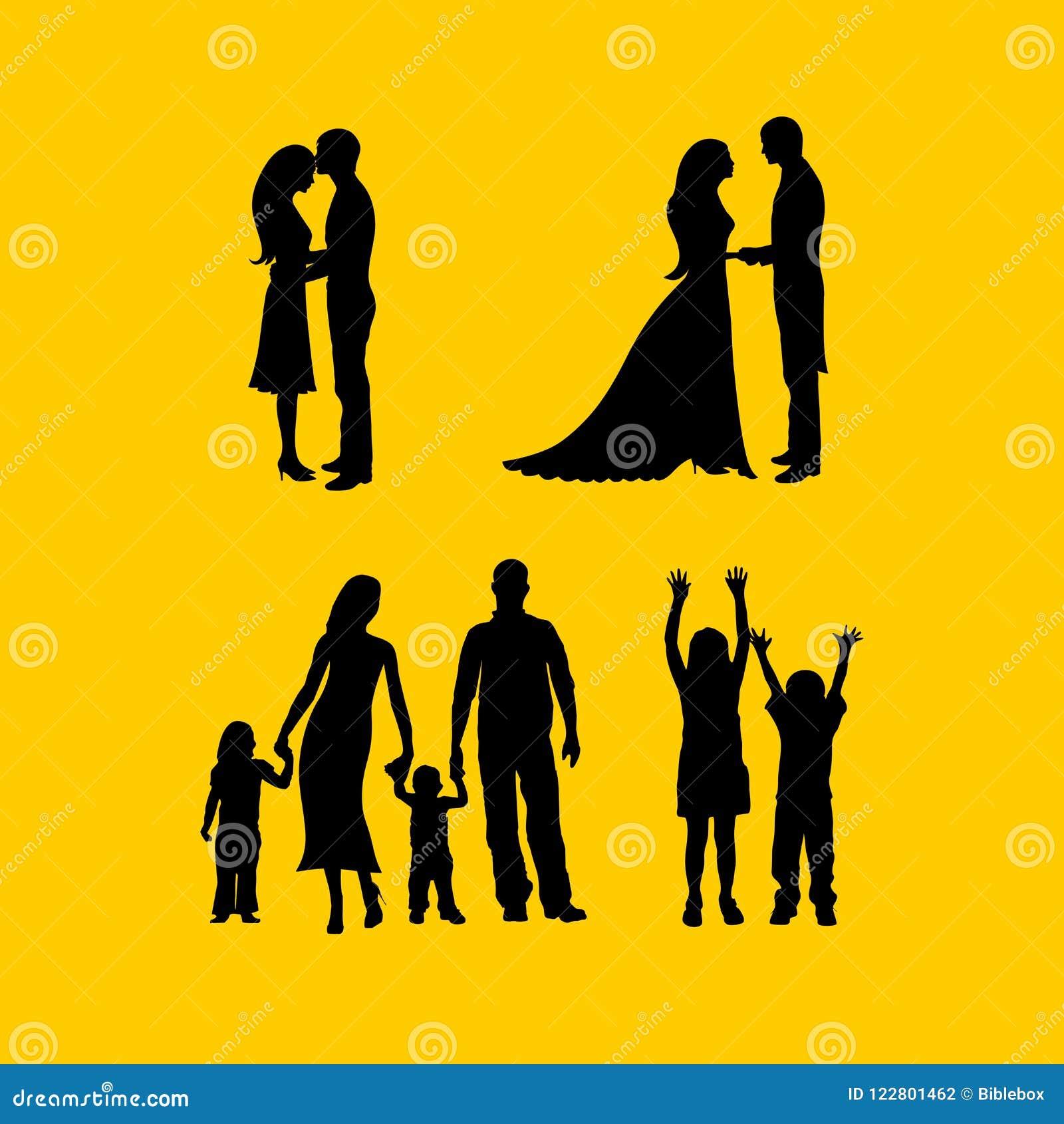Siluetas de pares en amor, en una boda, con la familia
