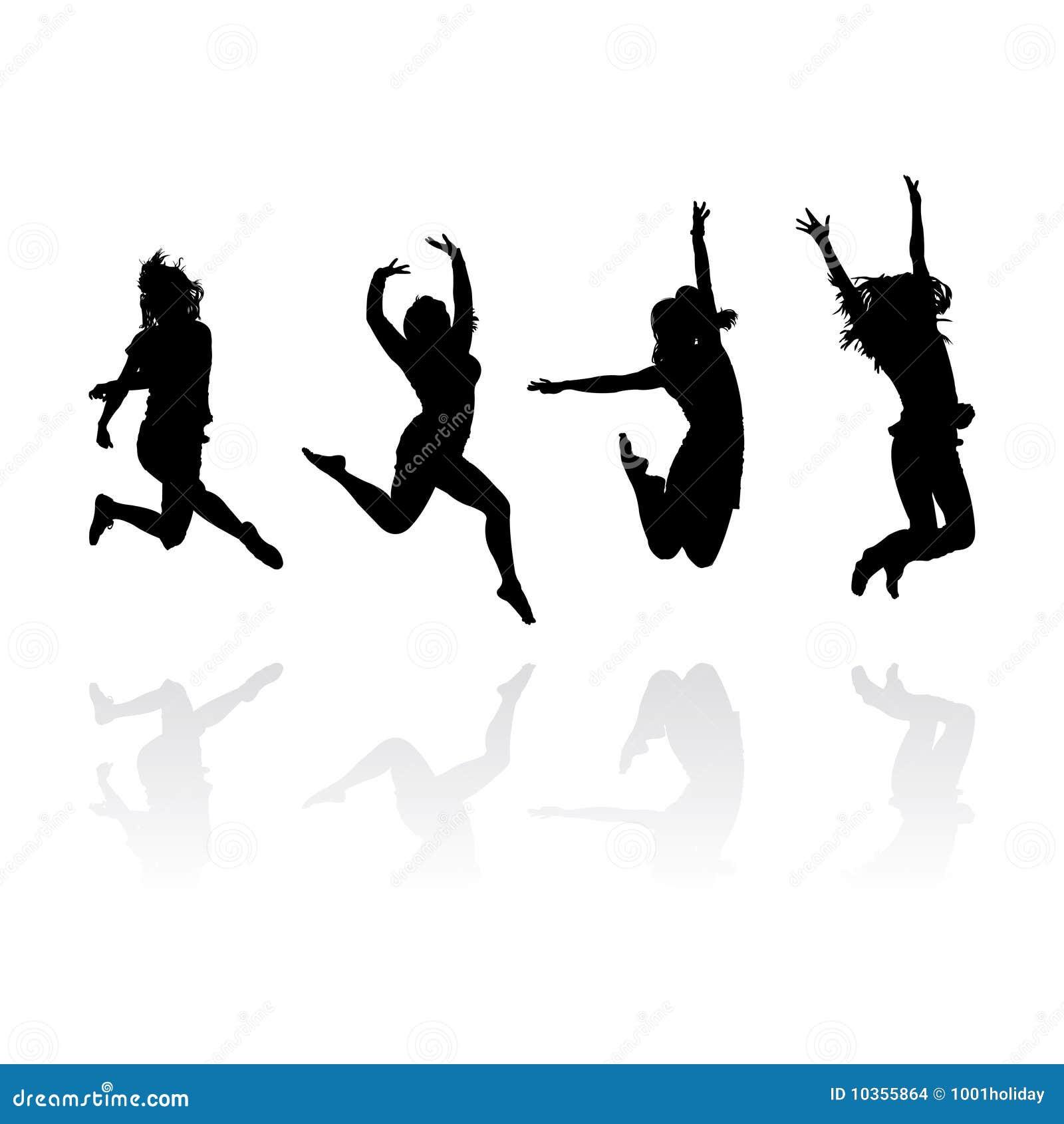 Siluetas de salto de las muchachas