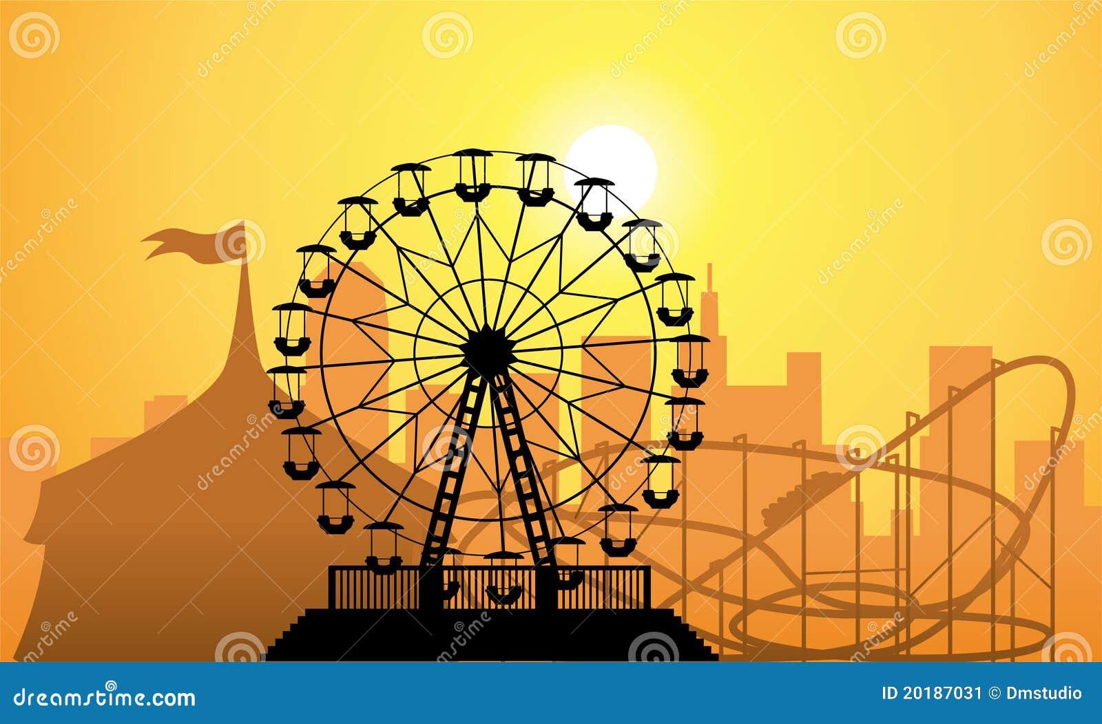 Siluetas de una ciudad y de un parque de atracciones