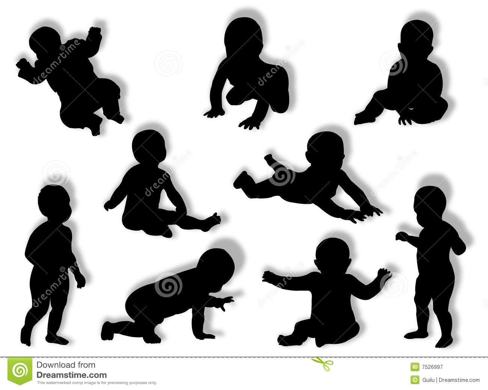 Siluetas Del Bebé Fotografía De Archivo Libre De