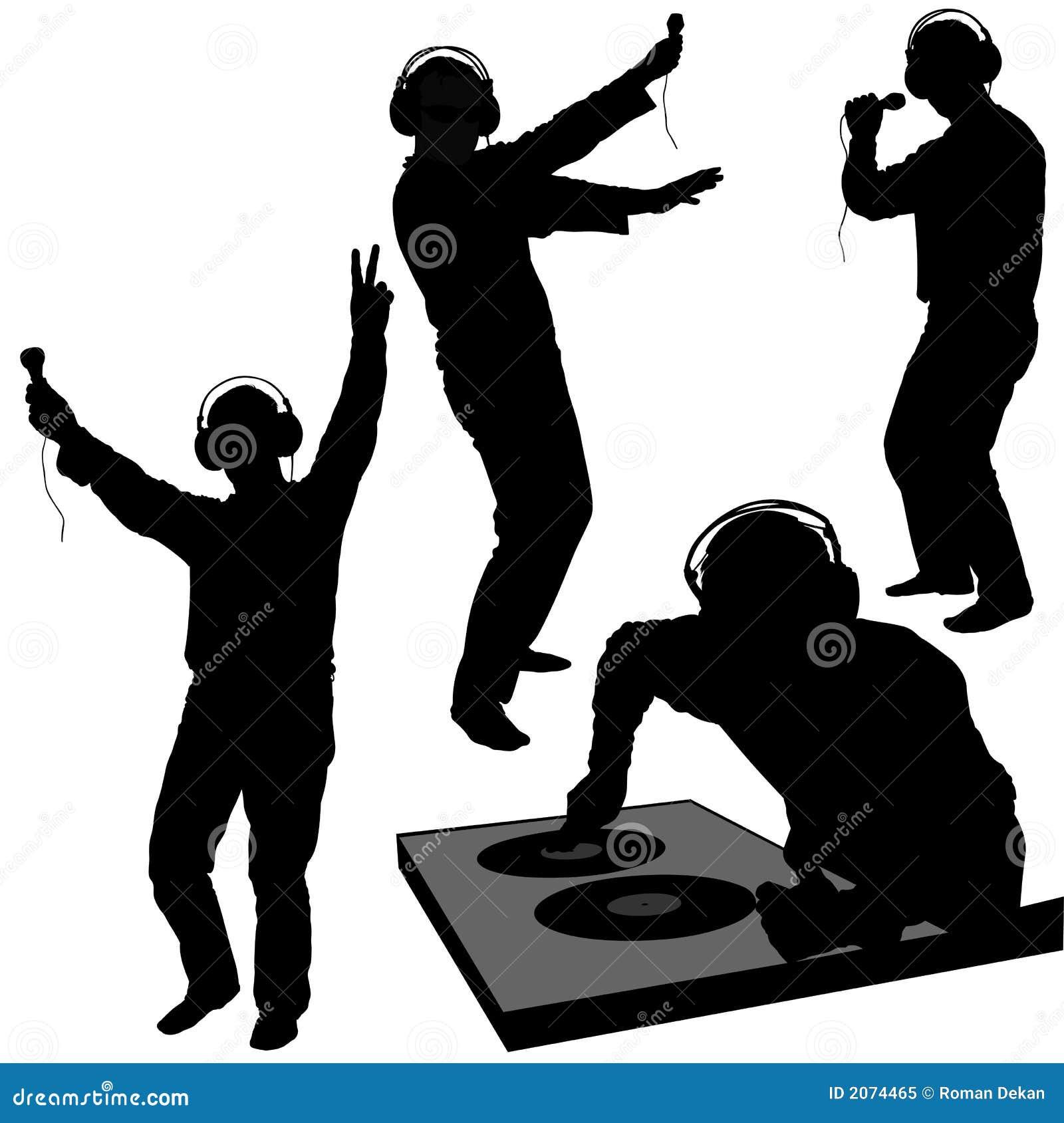 Siluetas del disc jockey
