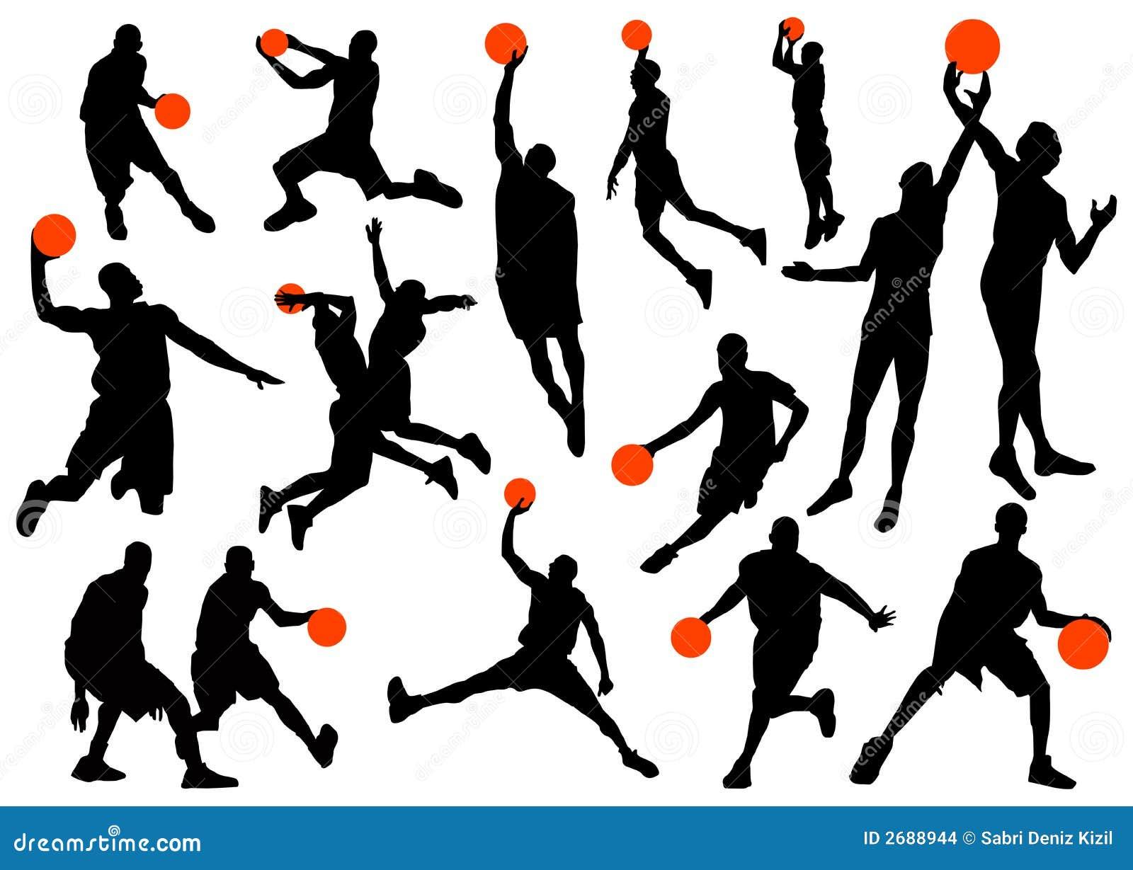 Equipo De Baloncesto De Las Mujeres Imagen De Archivo: Siluetas Del Jugador De Básquet Imagenes De Archivo