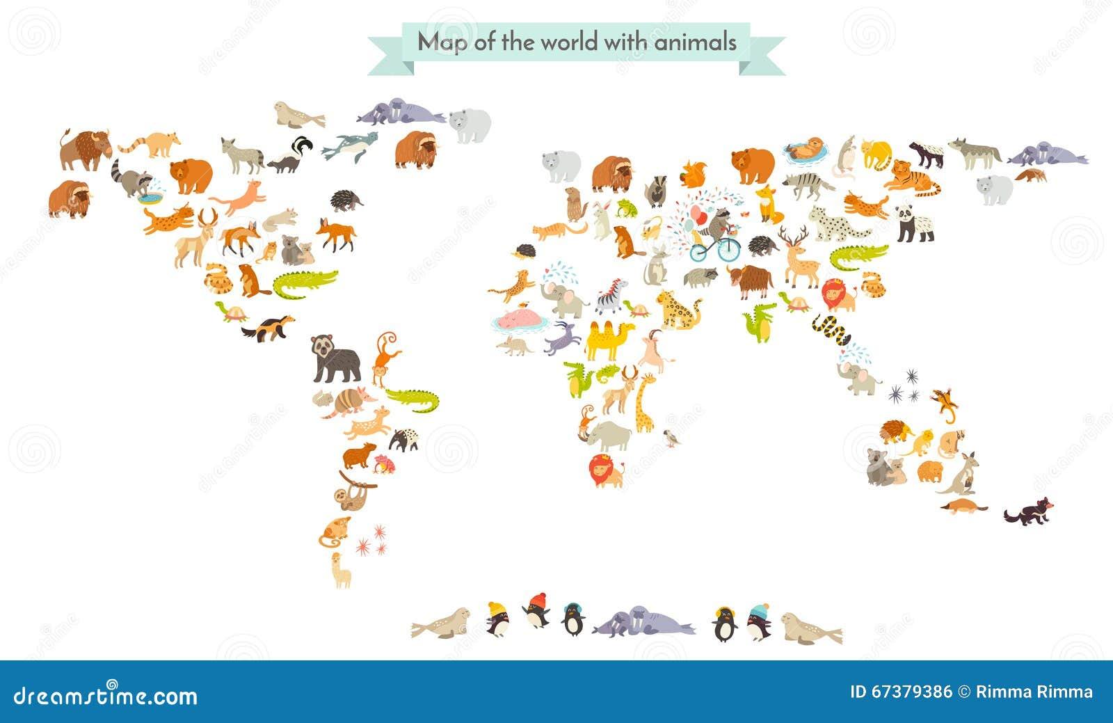 Siluetas del mapa del mamífero del mundo Mapa del mundo de los animales En el fondo blanco
