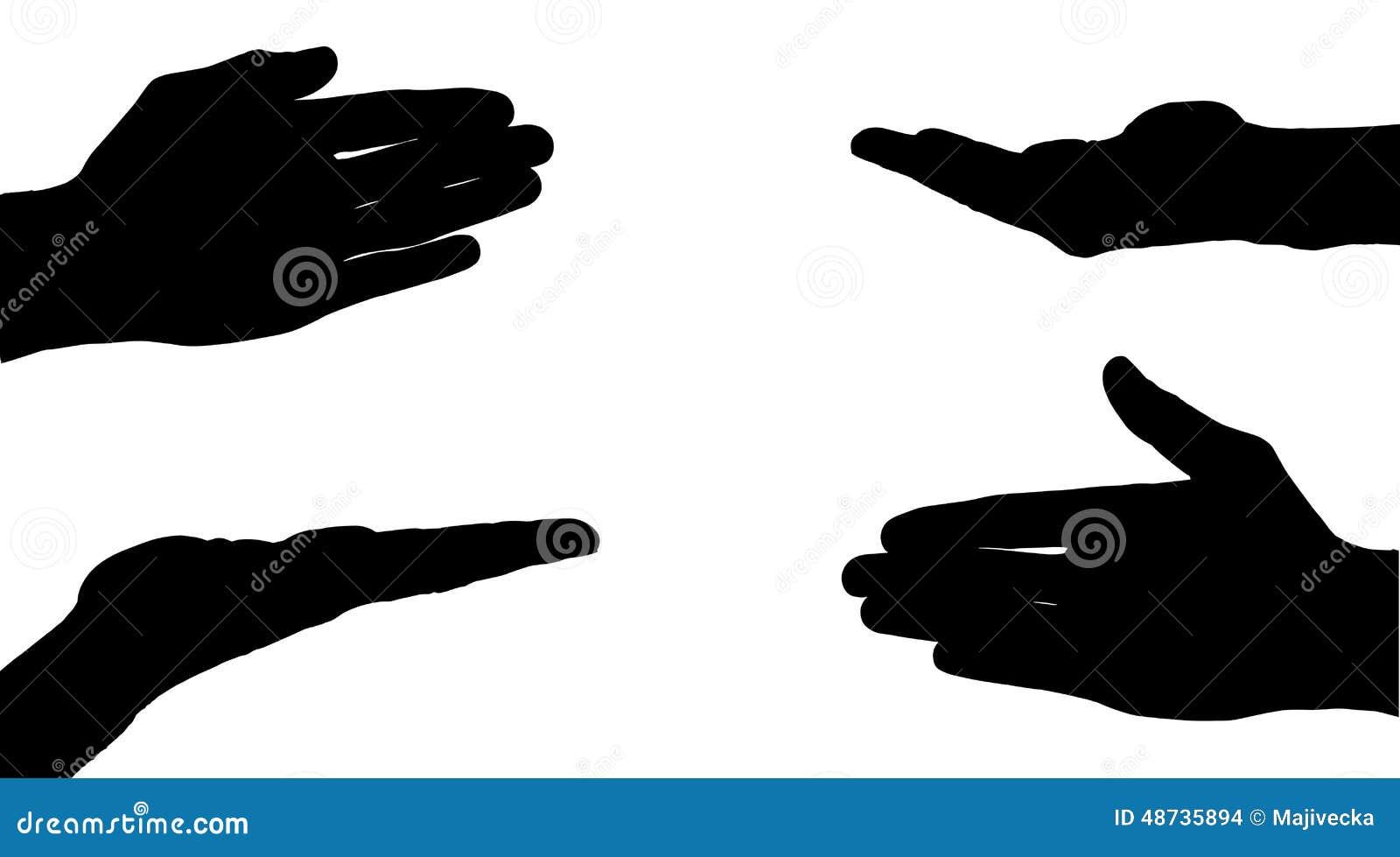 Siluetas Del Vector De Manos Ilustración Del Vector