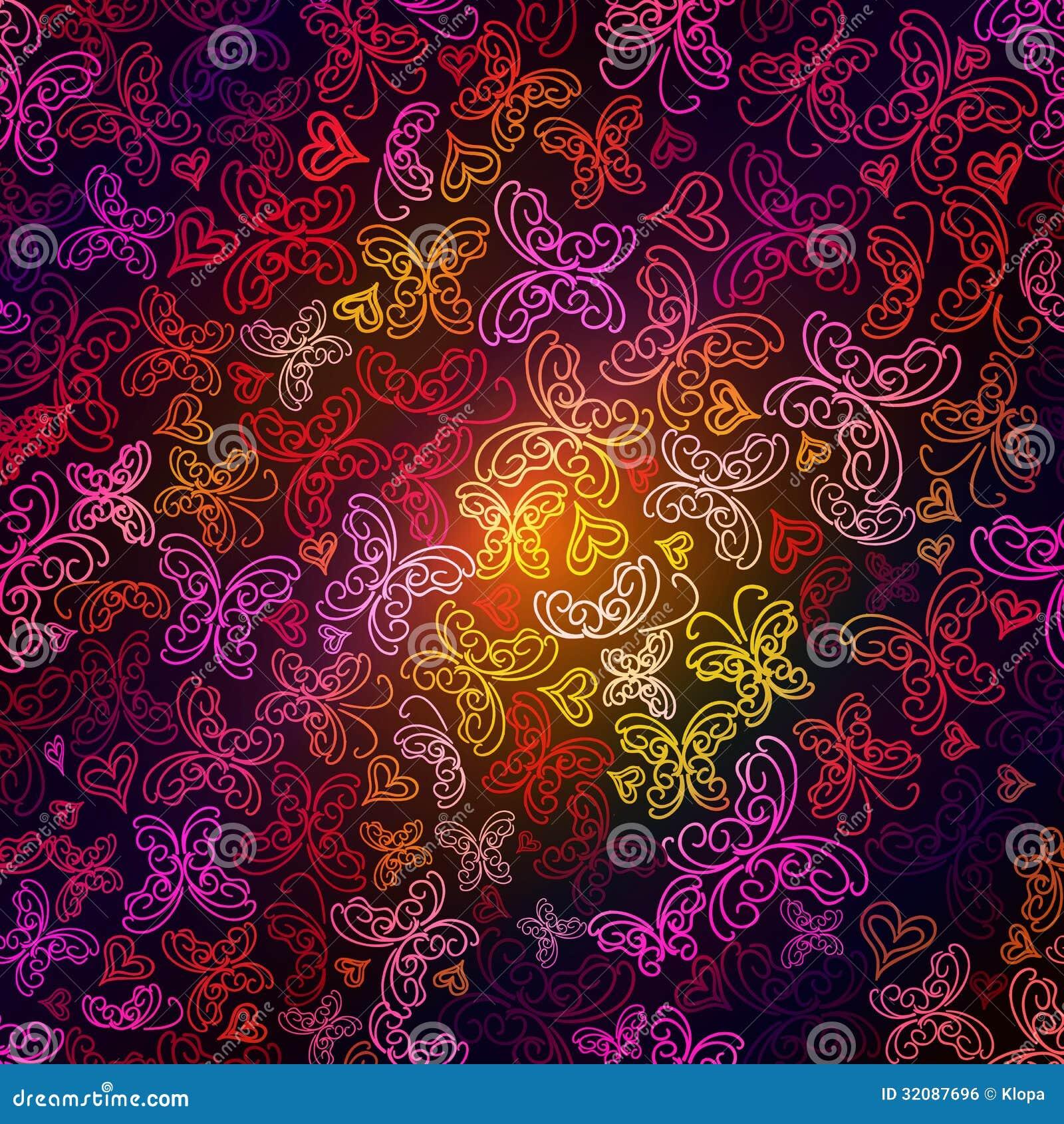 Siluetas multicoloras de la mariposa en fondo oscuro