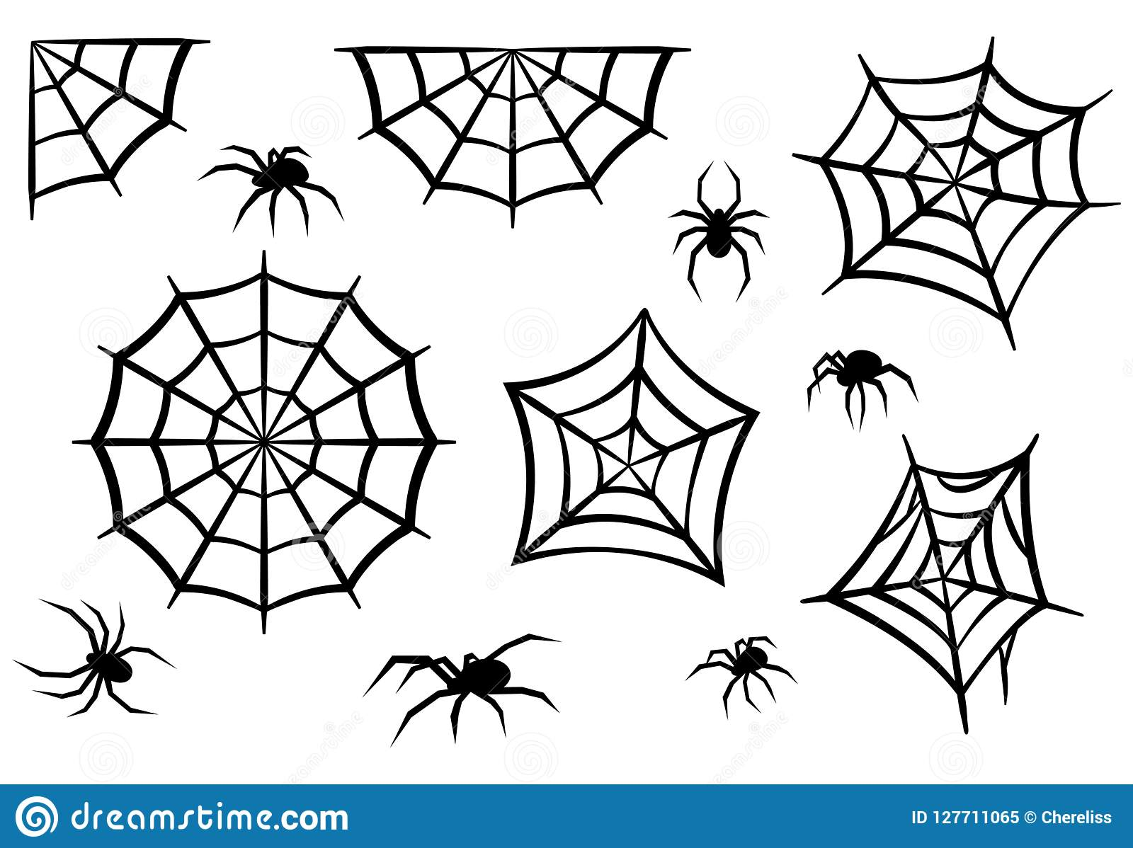 Siluetas negras de arañas y de web de araña Elementos de Halloween aislados en el fondo blanco Ilustración del vector