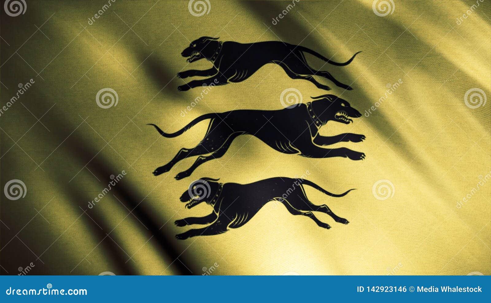 Siluetas negras de tres perros que corren en diversas direcciones en el fondo de oro de la bandera que agita, lazo inconsútil Cle